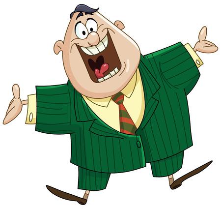 acogida: Hombre de negocios feliz que muestra gesto de bienvenida