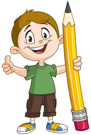 Muchacho joven que sostiene un lápiz grande y mostrando el pulgar arriba Ilustración de vector