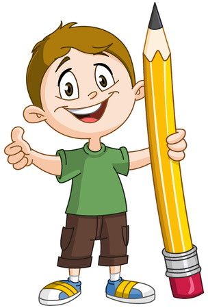pen writing: Young boy holding a big pencil and showing thumb up