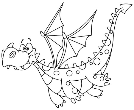 black and white image drawing: Outlined flying dragon. Vector illustration coloring page. Illustration