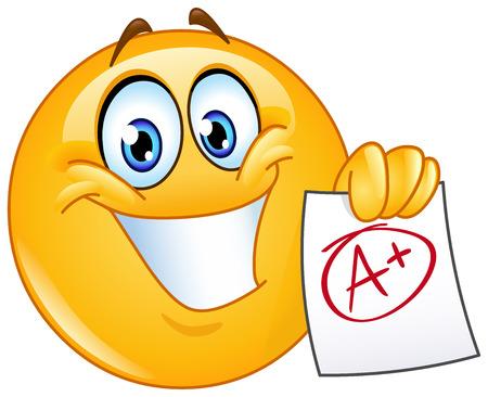 carita feliz: Emoticon feliz que muestra un papel con grado perfecto un plus
