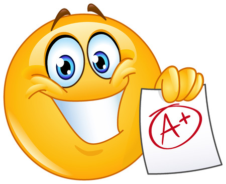grades: Happy emoticon showing a paper with perfect grade a plus
