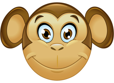 cute monkey: Smiling monkey face emoticon