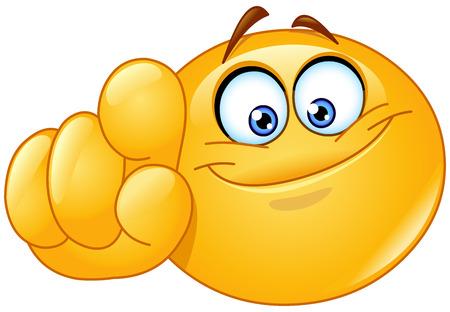 cara sonriente: Emoticon apuntando a usted