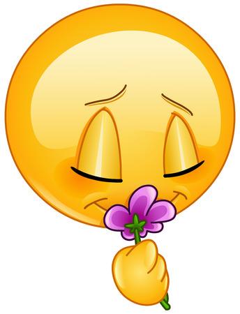 Emoticon smelling a flower Vettoriali
