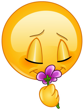Emoticon smelling a flower Vectores
