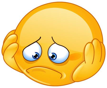 visage homme: Émoticône déprimé et triste avec les mains sur le visage Illustration