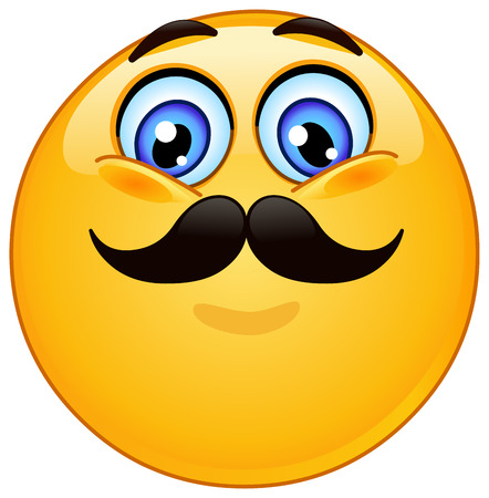 smile happy: Emoticon with mustache