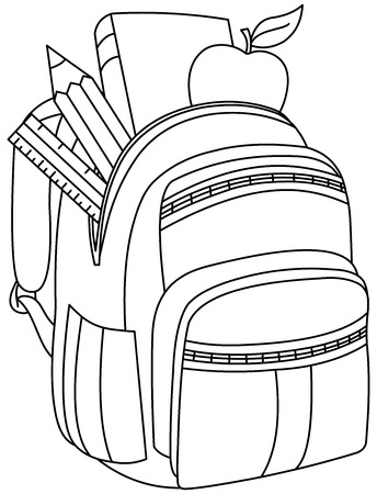 zaino scuola: Outlined school backpack. Vector illustration coloring page.