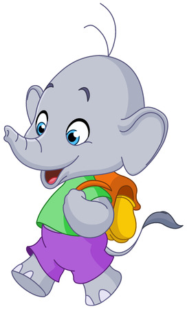 school baby: Cute school elephant walking with a backpack Illustration