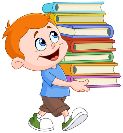 studies: Young boy walking and carrying a tall and heavy stack of school books