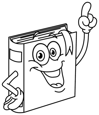 literature: Outlined book cartoon pointing with his finger. Vector illustration coloring page.