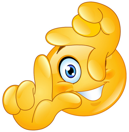carita feliz caricatura: Emoticono mirando desde un marco hecho de sus dedos