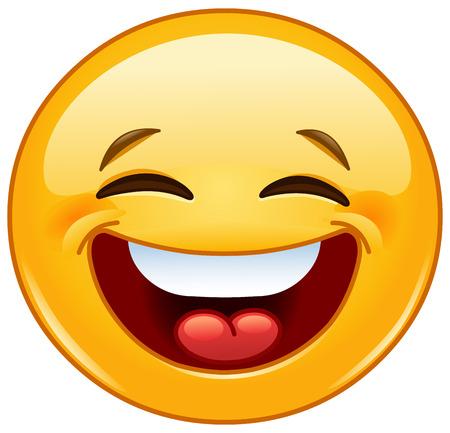 viso uomo: Emoticon ridere con gli occhi chiusi Vettoriali
