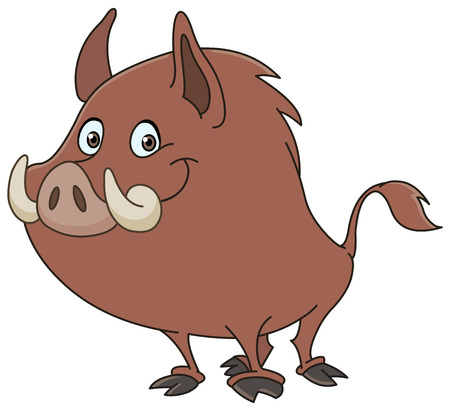 wild hog: Wild boar or wild pig cartoon