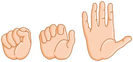 anatomia: Secuencia de la mano abierta de puño para abrir en tres planos. Vectores