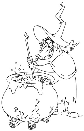Outlined witch preparing a potion. Vector illustration coloring page.