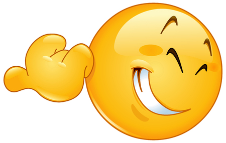 carita feliz caricatura: Sonreír emoticon apuntando con su dedo pulgar