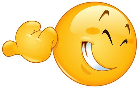 smiley pouce: Sourire �motic�ne pointage avec son pouce