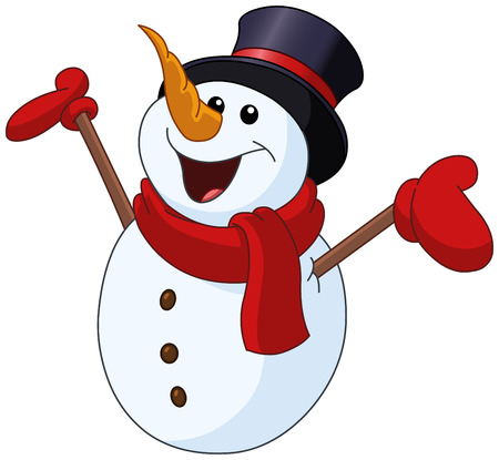 Happy snowman looking up and raising his arms Ilustração