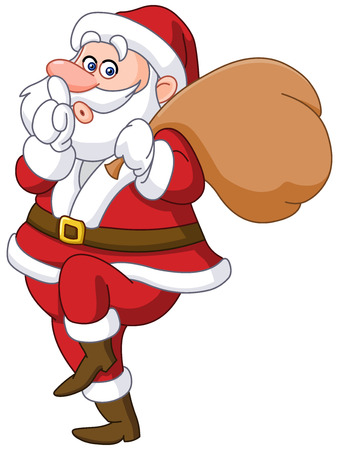 hush hush: Sneaky santa claus showing silence sign and tip toeing carrying gifts sack