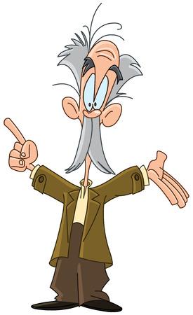 Oude professor wijzend met zijn vinger Stock Illustratie