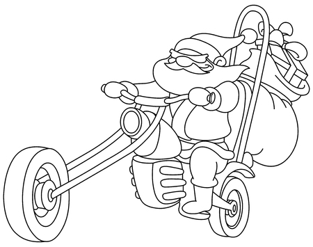 Outlined Santa on a motorcycle. Vector, illustration coloring page. Illustration