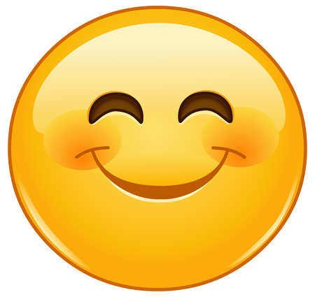 Smiling emoticon with smiling eyes and rosy cheeks Stock Illustratie