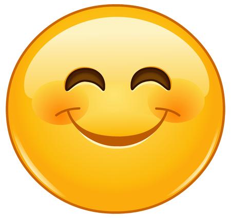 volto uomo: Sorridente emoticon con gli occhi sorridenti e le guance rosee