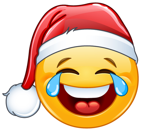Laughing tears of joy emoticon with Santa hat