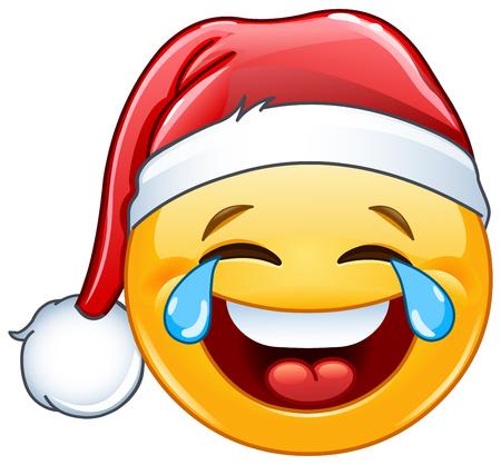 Lachen tranen van vreugde emoticon met kerstmuts