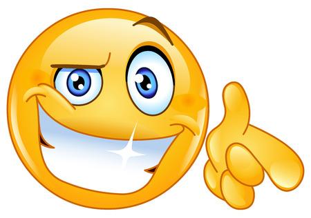 gestos de la cara: Apuntando fresca emoticon en usted