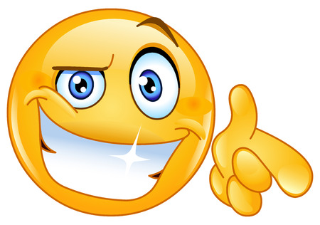 Cool emoticon pointing at you