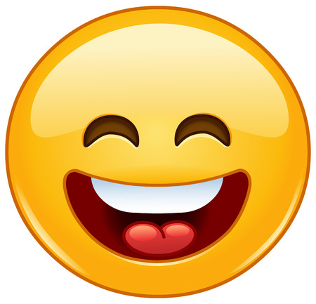 carita feliz: Sonreír emoticono con la boca abierta y los ojos sonrientes Vectores
