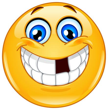 sonrisa: Sonreír emoticon con el diente que falta Vectores