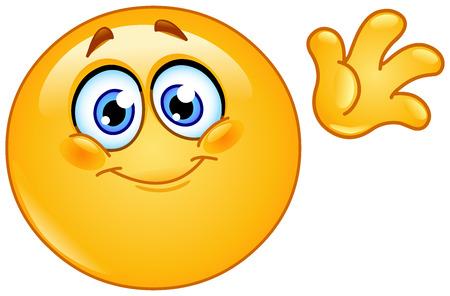 Cute emoticon waving hello Vectores