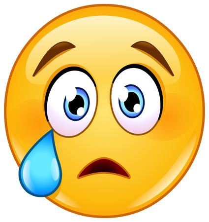 choro cara emoticon com lágrima Ilustración de vector