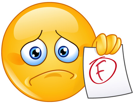 fail: Disappointed emoticon showing a paper with F failure grade