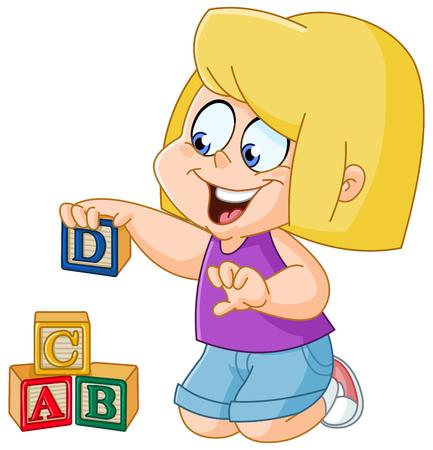 나무 알파벳 블록을 가지고 노는 어린 소녀