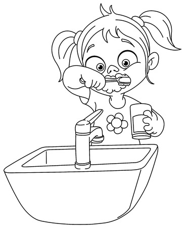 Outlined young girl brushing her teeth. Vector illustration coloring page.