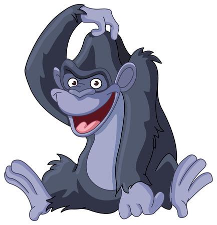 rey caricatura: Gorila sentado y rascarse la cabeza