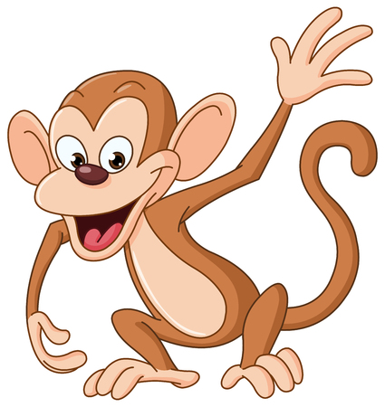 paintings art: Happy monkey waving hello