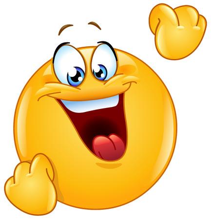 pelota caricatura: mostrando emoticon celebración gesto con los puños de bombeo