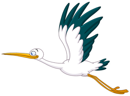 Smiling stork flying