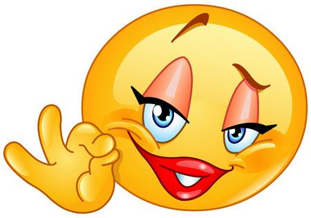 Female emoticon showing ok sign Vettoriali