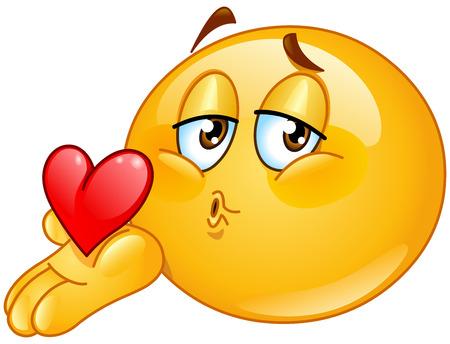 handkuss: Männlich Emoticon weht ein Kuss Illustration