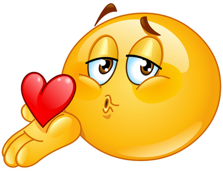romantic kiss: Male emoticon blowing a kiss