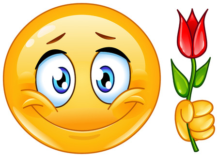 Emoticon with flower