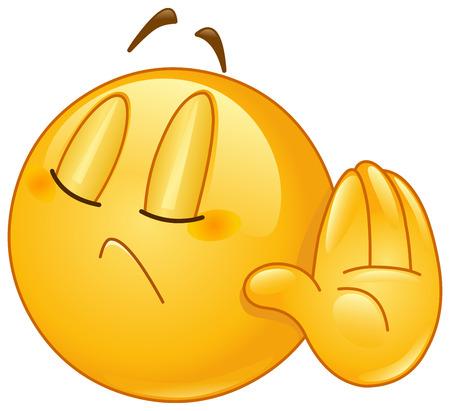 смайлик: Смайлик показывая отрицать или отказать жест рукой Иллюстрация