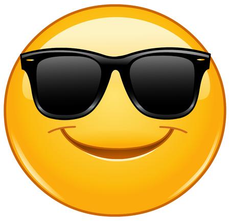 Emoticon sonriente con gafas de sol Ilustración de vector